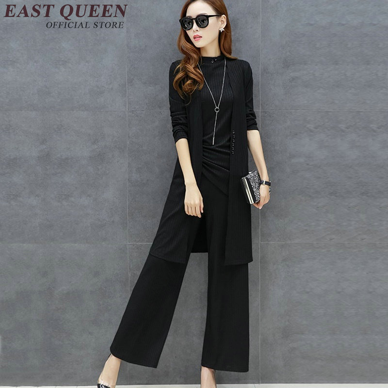 c0f9a1d838f7c US $46.75 45% OFF|New autumn pantsuit elegant pantsuit women solid color  pant suit long sleeve cardigan womens 3 piece pant suit AA2822 YQ-in  Women's ...