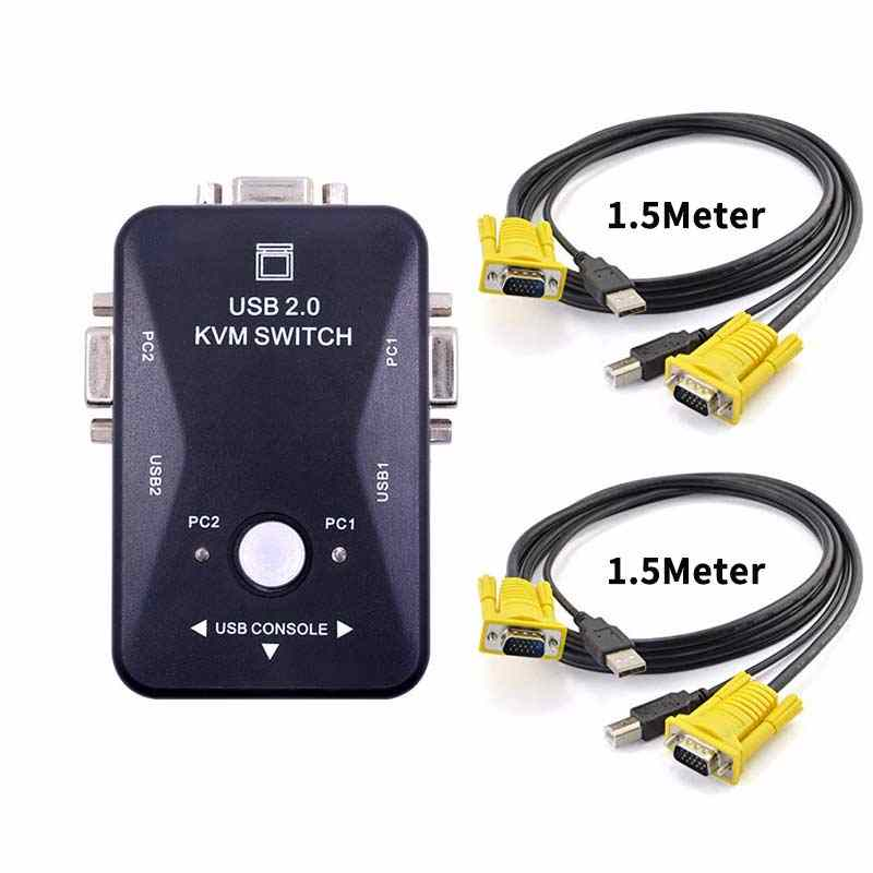 Ingelon KVM Switch Kabel Vga Kualitas Tinggi USB 2.0 VGA Splitter Kotak untuk USB Kunci Keyboard Mouse Monitor Adaptor Usb printer Switch