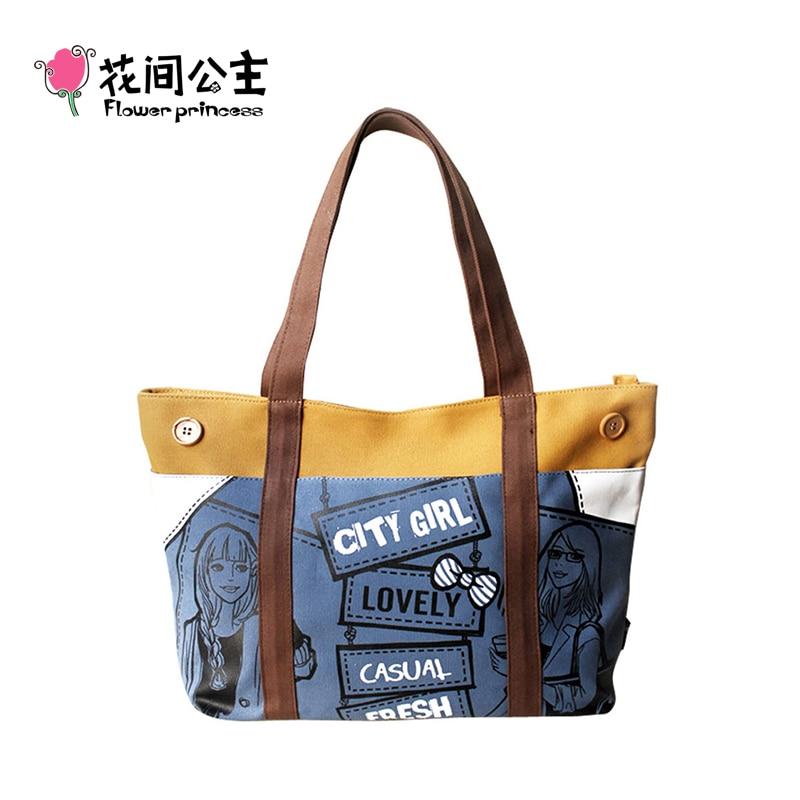 Flower Princess Brand City Girl Canvas Handbags Women Vintage Boho Shoulder Bag Casual Large Tote Bag for School Teenage Girls