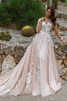 2018 Stunning Designer A Line Wedding Dresses Illusion Neckline Sheer Long Sleeves Full Embroidery Court Train Bridal Gowns
