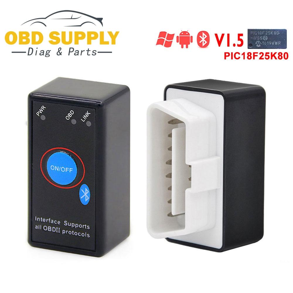 Kingbolen outil De Diagnostic Scanner ELM327 V1.5 PIC18F25K80 Puce Auto Lecteur de Code Bluetooth Interrupteur on/off 12 v OBDII ELM 327