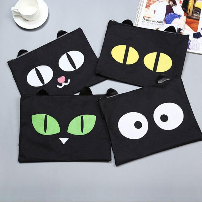 1PCS A4 Cute Cartoon Cat  File Pocket Oxford Cloth With Zipper Bag Hand Carry Bag Stuff Bag Folder Portfolio School Stationery