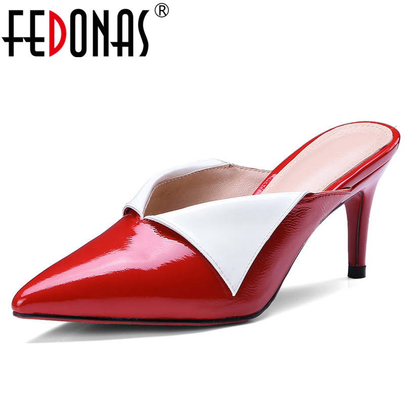 FEDONAS Fashion Top Quality Women Pumps Sexy Pointed Toe High Heel Women Party Wedding Shoes Woman Genuine Leather Slippers Shoe fedonas high quality women genuine leather shoes woman high heels sexy pointed toe silver gold wedding party shoes female pumps