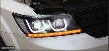 2pcs Styling per JCUV Testa della lampada 2009 ~ 2017 Viaggio Faro LED DRL Hid Freemont Angelo Occhio Allo Xeno Bi fascio Accessori