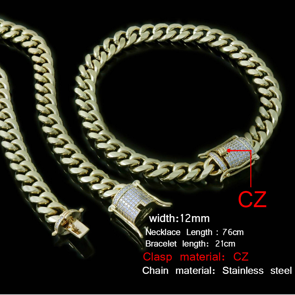 UWIN 10mm Mens Cuban Miami Link Bracelet & Chain Set Rhinestone Clasp Stainless Steel Gold Hip Hop Necklace Chain Jewelry SetUWIN 10mm Mens Cuban Miami Link Bracelet & Chain Set Rhinestone Clasp Stainless Steel Gold Hip Hop Necklace Chain Jewelry Set