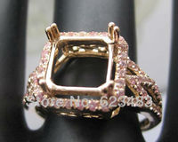 Princess cut 8x8mm Solid 14K Rose Gold Natural Diamond Pink crystal stone Semi Mount Ring
