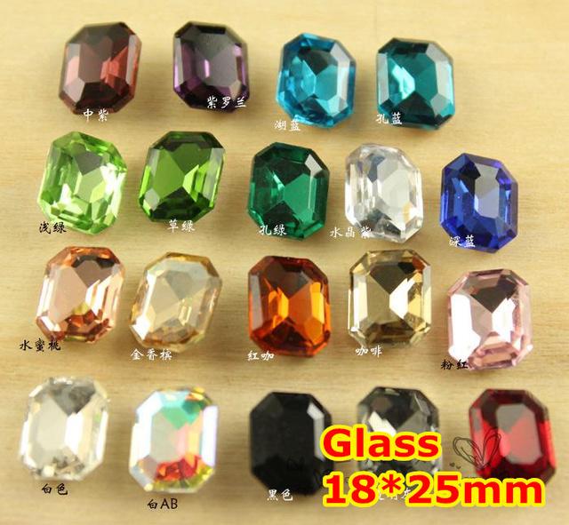72 Pcs 18*25mm Retângulo Octagon Cristal Extravagante Pedra Pointback Vidro Malogrado Para Fazer Jóias, Vestuário Uso, pedras vestido de capina