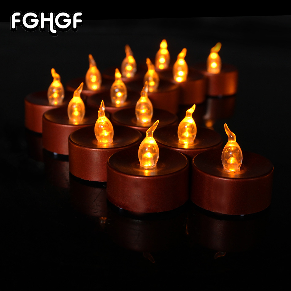 24 Pieces Brown base Battery-Powered Flameless Candles Flickering Led Tea Lights Candle soft light for Birthday Wedding Party