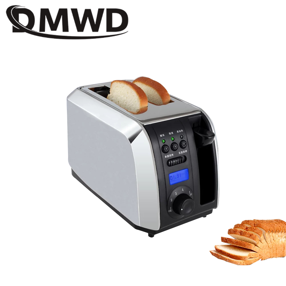 DMWD Digital Timer Electric Toaster Stainless steel Breakfast Bread Baking Machine 2 Slices Slots Automatic Toast Oven EU Plug dmwd mini household electrical toaster breakfast 2 slices bread baking maker automatic breakfast machine toast oven grill eu us