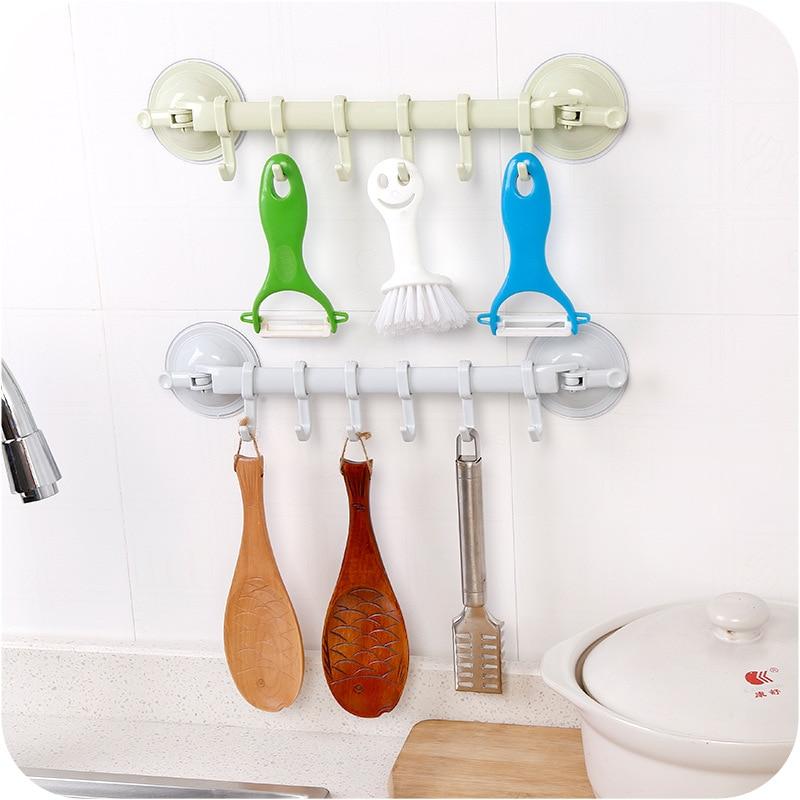 6 Hooks Hanging Towel Racks Bathroom Adhesive Wall Hanger Storage Hanger Kitchen Organizer Suction Cup Hooks