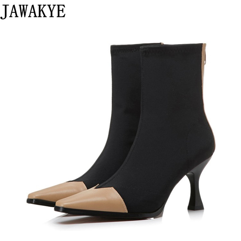 2018 New high heels Stretch Fabric Women Botas Sock Ankle Boots patchwork square toe Shoes Woman Botines Mujer Women Pumps