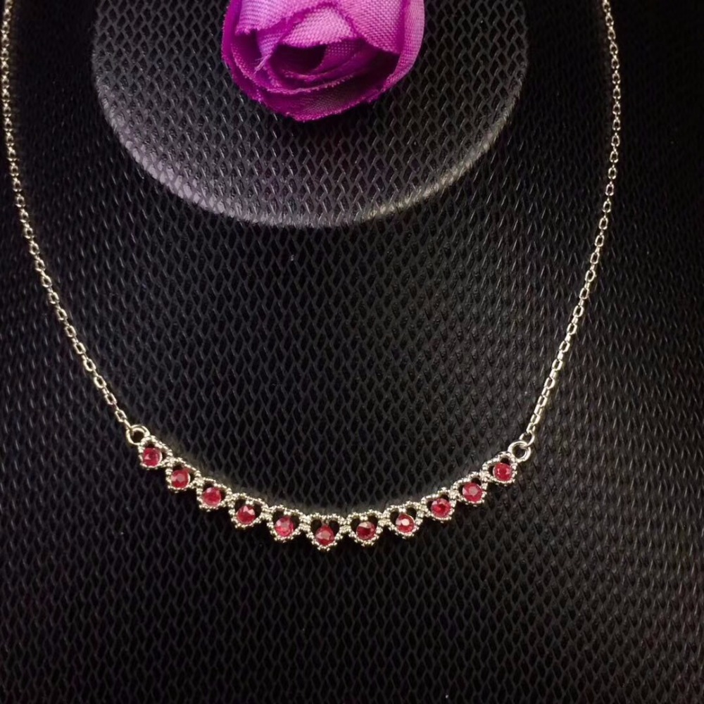 Uloveido Tested Natural Ruby Chain Necklace for Women, 925 Sterling Silver Jewelry, 2*2mm*11 Pcs Velvet Box Certificate FN186Uloveido Tested Natural Ruby Chain Necklace for Women, 925 Sterling Silver Jewelry, 2*2mm*11 Pcs Velvet Box Certificate FN186