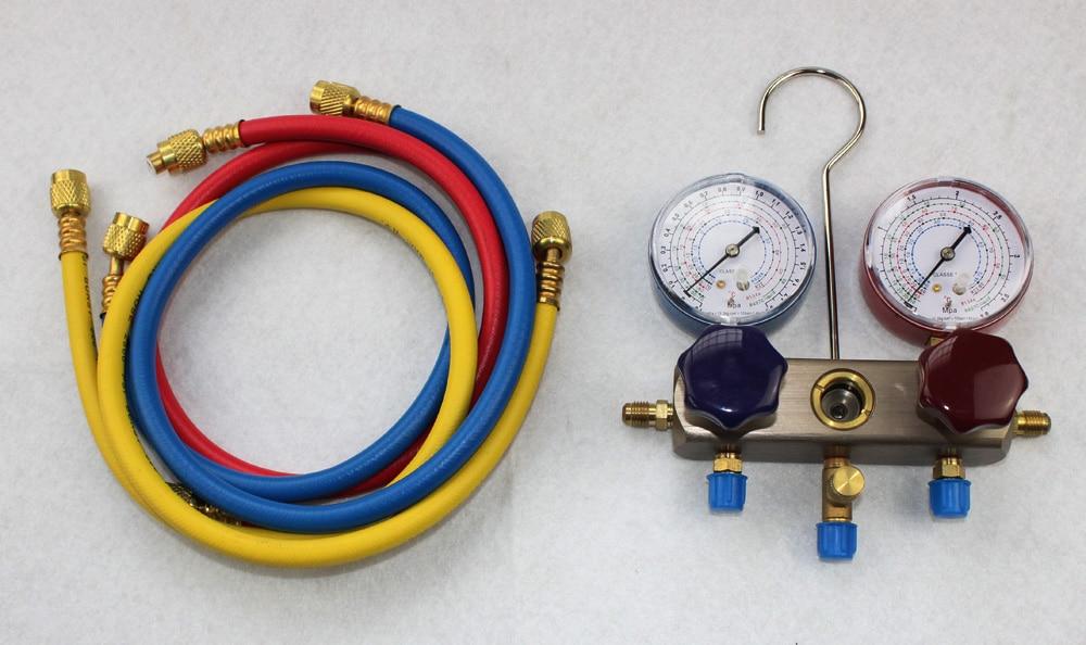 Frete Grátis, carregamento de refrigerante R134A Manómetro, medidor de pressão do refrigerante R134, 1.5 M MANGUEIRA de carregamento