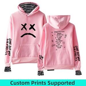 Image 1 - 2019 Sweatshirts Lil Peep Fake Two Pieces Hoodies Autumn Men/Women Sweatshirts custom Harajuku Matching Hoodies For Couples