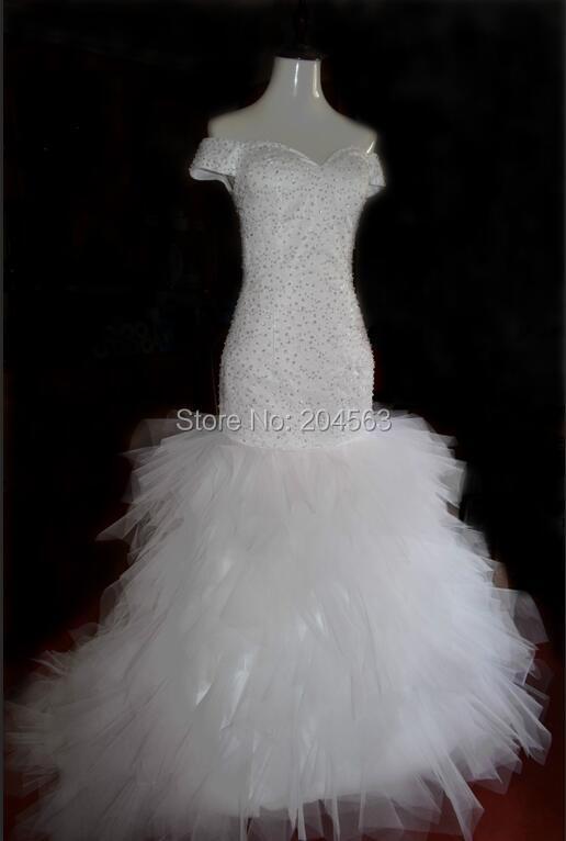 Hot Sale Real Picture Sweetheart 2016 Wedding Dresses Mermaid vestido de noiva with Crystals