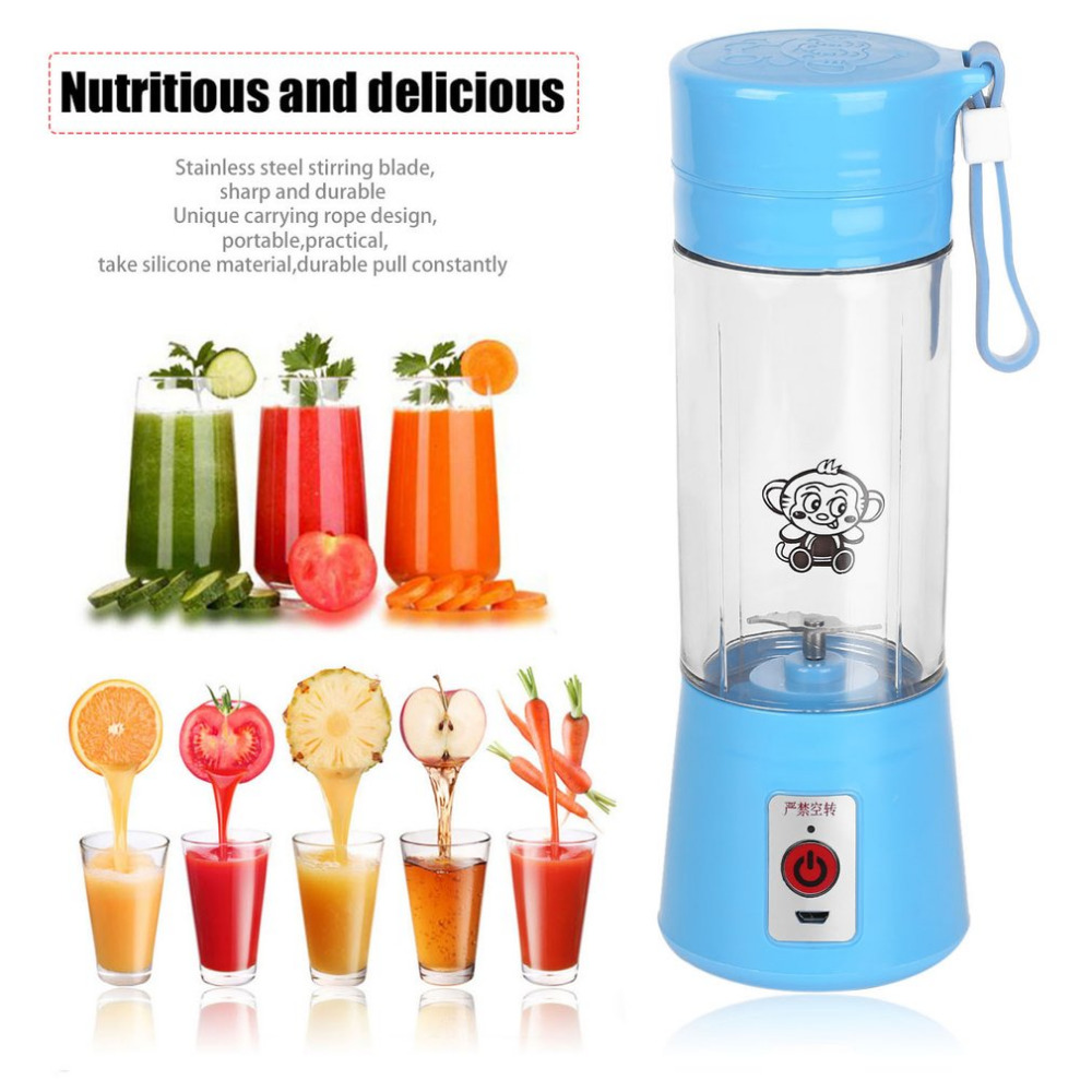 4 Colors 380ml USB Electric Fruit Juicer Handheld Smoothie Maker Blender Rechargeable Mini Portable Juice Water