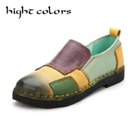 2018 Fashion Women Shoes Genuine Leather Loafers Women Mixed Colors Casual Shoes Handmade Soft Comfortable Shoes