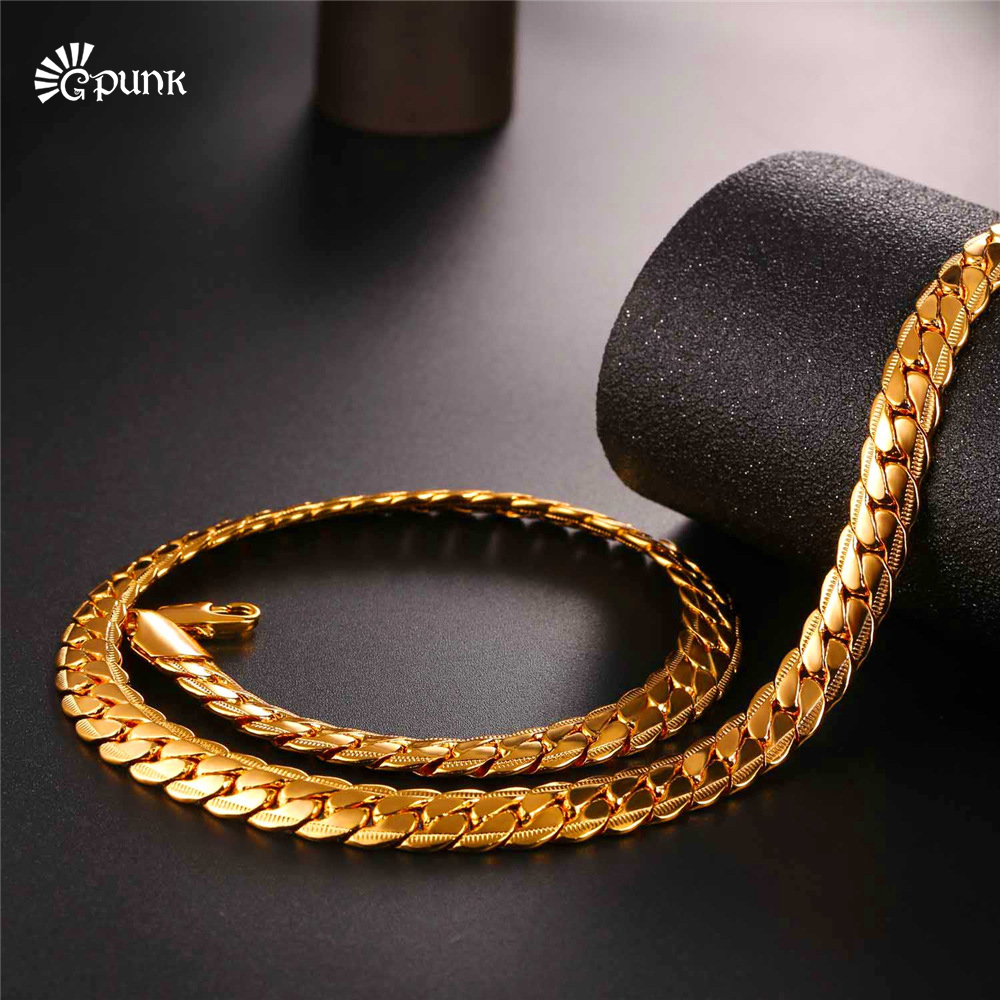Cuban link chain necklace for boys men jewelry punk black gold filled bicycle chains N2489G tartan