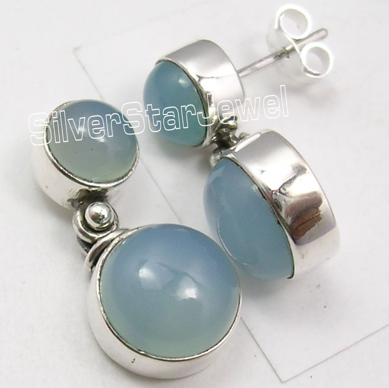 PURE Silver Sparkling CHALCEDONY 2 Gem INEXPENSIVE Stud Earrings 2 2 CM