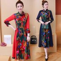 2018 Free Shipping New Fashion Spring Autumn New Folk Style Dress Cheongsam Slim Vintage Floral Cotton Women Dresses
