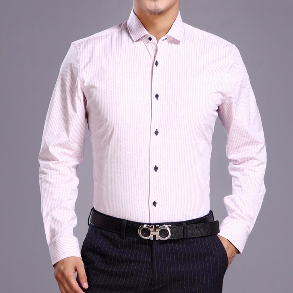 새로운 도착 남자의 면화 멋진 드레스 셔츠 밝은 대비 슬림 피팅과 밝은 핑크 긴 소매 작은 칼라 Euro.design