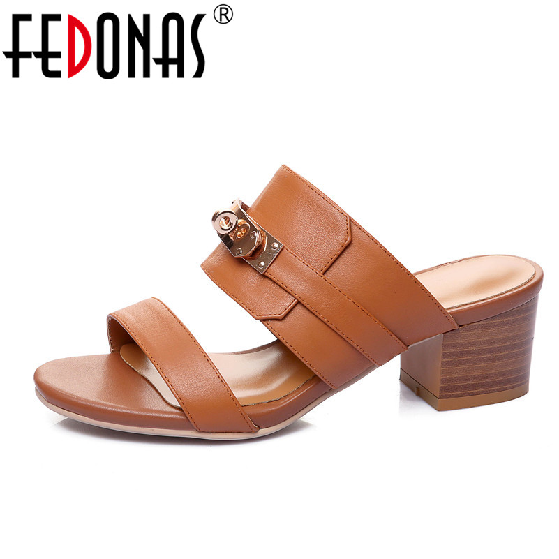 FEDONAS Brand 2018 Fashion Women Genuine Leather Sandals Metal Decoration Summer Shoes Woman Comfort Casual Ladies Shoes Slipper fedonas women sandals soft genuine leather summer shoes woman platforms wedges heels comfort casual sandals female shoes