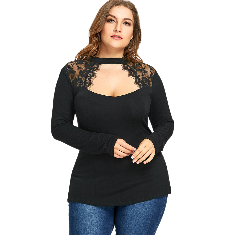 93bf050552c Detail Feedback Questions about Gamiss New Women Plus Size Lace T Shirts  Insert Keyhole Tops Spring Autumn Long Sleeves Black Casual Tees Shirts Cut  Out ...