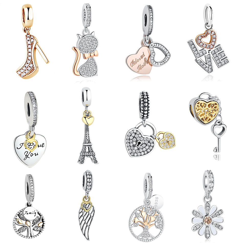 BELAWANG Fashion Golden Color Dangle Charms Fit Original Pandora Bracelet for Women 925 Sterling Silver Jewelry Accessories