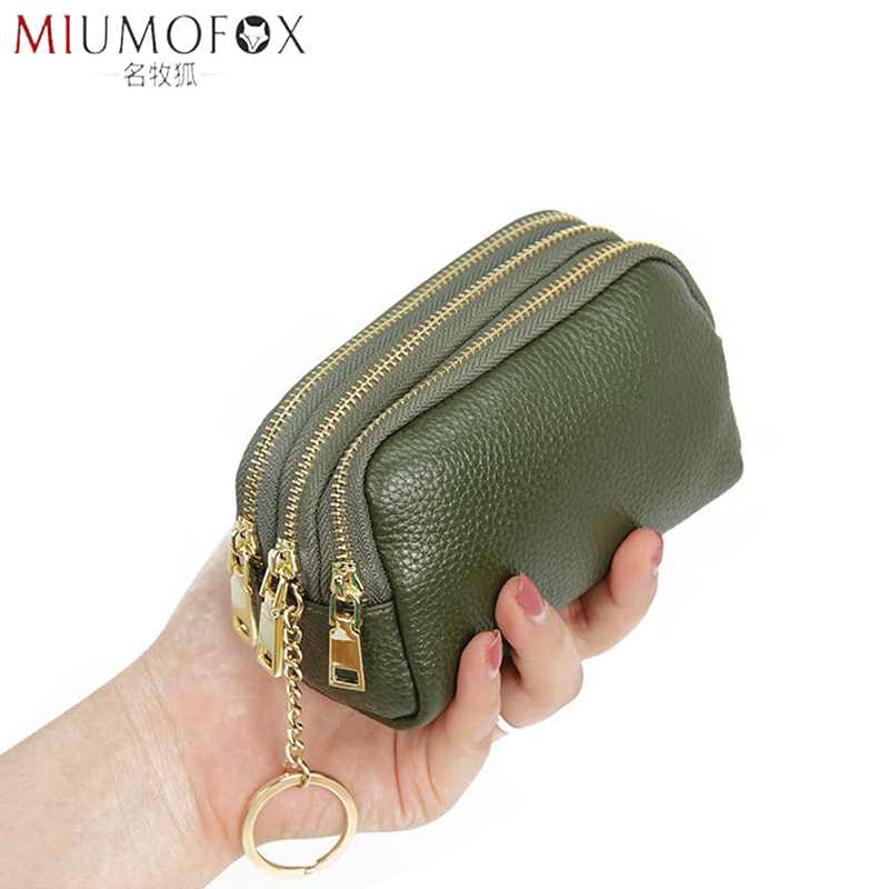 Black Genuine Leather Small Coin Holder Change Purse Zipper Key Card Wallet