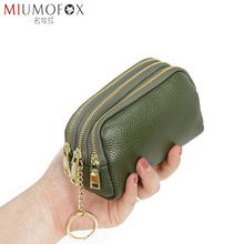 Genuine Leather Women Card Coin Key Holder Change Pouch Purse Mini Pocket Zipper Popular Small Money Bag Wallet High-capacity стоимость
