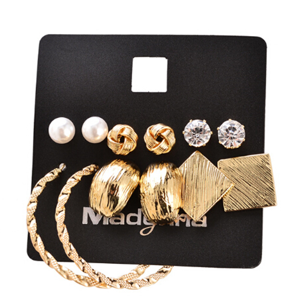 Charmcci 6 Pairs/Set Fashion Trendy Round Gold Color Stud Earrings Set For Woman Party Ladies Ear Jewelry Gift