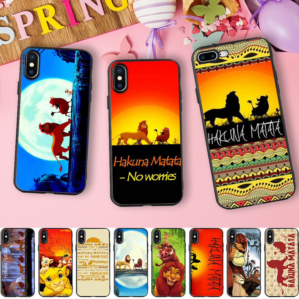 Hakuna Matata <font><b>Lion</b></font> <font><b>King</b></font> Black Soft Silicone Phone <font><b>Case</b></font> for <font><b>iPhone</b></font> X 11 Pro 5S XR XS Max <font><b>6</b></font> 6S 7 8 Plus Cover Fundas Capinha Coque image