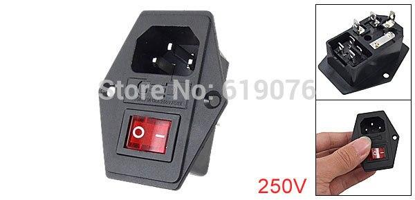 10 stücke IEC320 C14 Einlass Modul Stecker Sicherung Schalter Männlichen Steckdose 6A/250 v 10A/125 v rot 4Pin