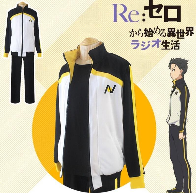 მოდური Cosplay კოსტუმები Re Zero kara Hajimeru Isekai Seikatsu Subaru Natsuki Sweatshirt Coat შარვალი შარვალი