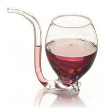 Креативная прозрачная кружка для красного вина объемом 300 мл со встроенной трубой, соломенная чашка для воды для дома, бара, отеля