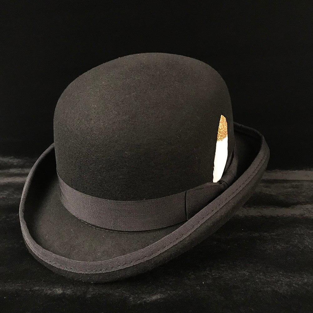 f635afedbac 100% Wool Women s Men s Black Bowler Hat Gentleman Crushable Derby Hat Dad  Billycock Groom Hats