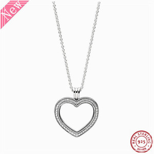 Image 1 - 60cm Medium Stone Studded Sparkling Floating Heart Locket Pendant Necklaces for Women Jewelry in Real 925 Sterling Silver FLN069