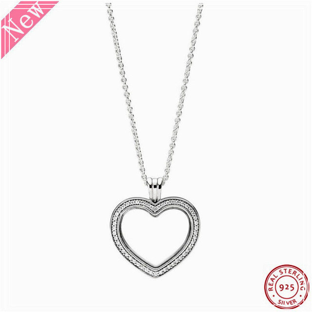 60cm Medium Stone Studded Sparkling Floating Heart Locket Pendant Necklaces for Women Jewelry in Real 925 Sterling Silver FLN069