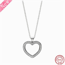 60cm moyen pierre clouté étincelant flottant coeur médaillon pendentif colliers pour femmes bijoux en argent Sterling réel 925 FLN069