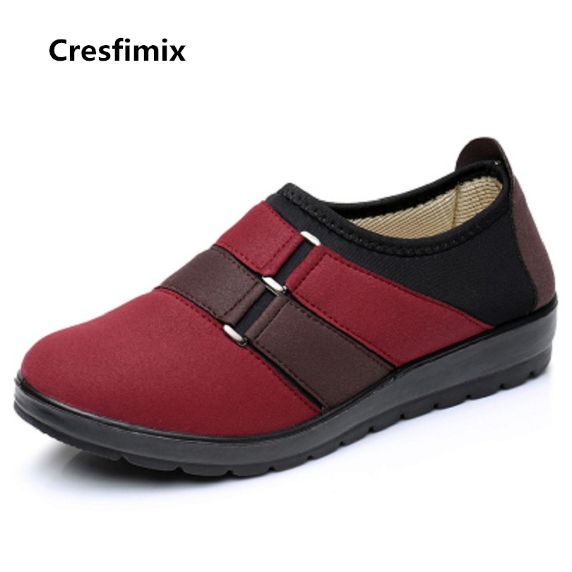 Cresfimix sapatos femininas women casual spring slip on flat shoes woman retro wine red comfortable shoes female leisure shoes cresfimix women cute spring and summer slip on flats sapatos femininas female black soft pu leather comfortable flat shoes