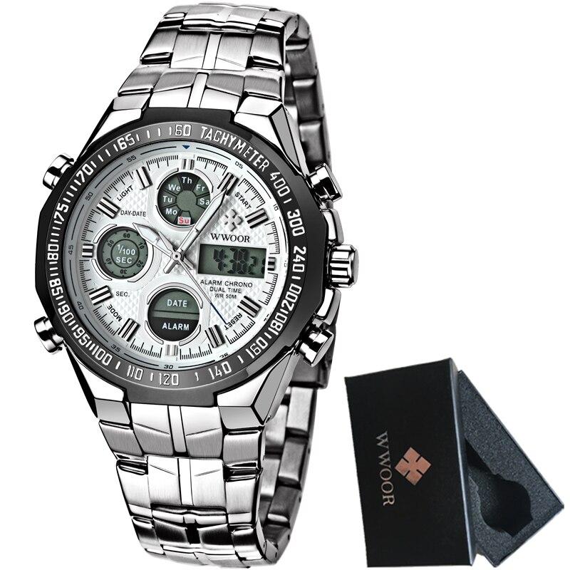 Männer Uhren Luxusmarke Voller Stahl Quarzuhr Led Digitaluhr Männer Handgelenk Sportuhr Military Relogio Masculino Feminino Uhren