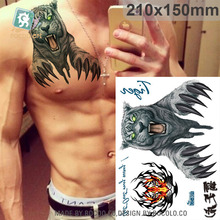 Waterproof Temporary Tattoos For Boy Men 3D Domineering Tiger Design Large Tattoo Sticker LC2801