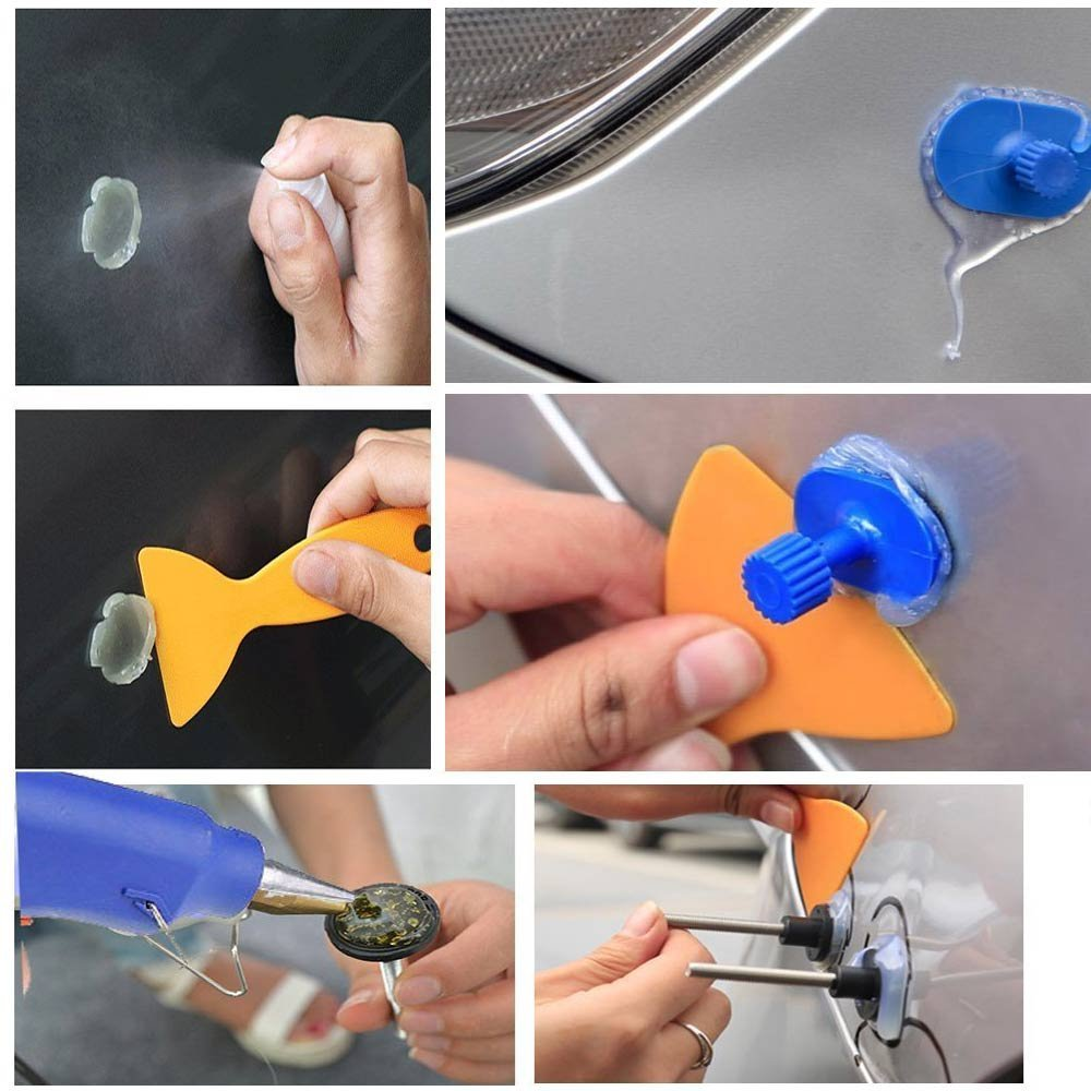 car body repair tools plastic scraper to remove glue from car body with Rag alcohol bottle for removing the silicon