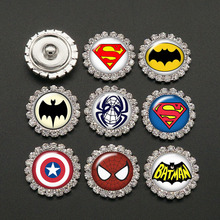 New 10pcs mixed Beauty Super hero Marvel Rhinestone crystal snap buttons fit 20mm snap jewelry necklace