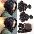 Brazilian Curly Hair With Closure Bouncy Curls Hair 4 Bundles Deals 100 Human Hair Nafy Hair Products Romance Curl Weave Soft 1B