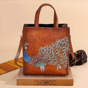 Image 4 - Johnature 2020 New Genuine Leather Casual Tote Vintage Animal Prints Zipper Hard Versatile Hand Painted Peacock Women Handbags