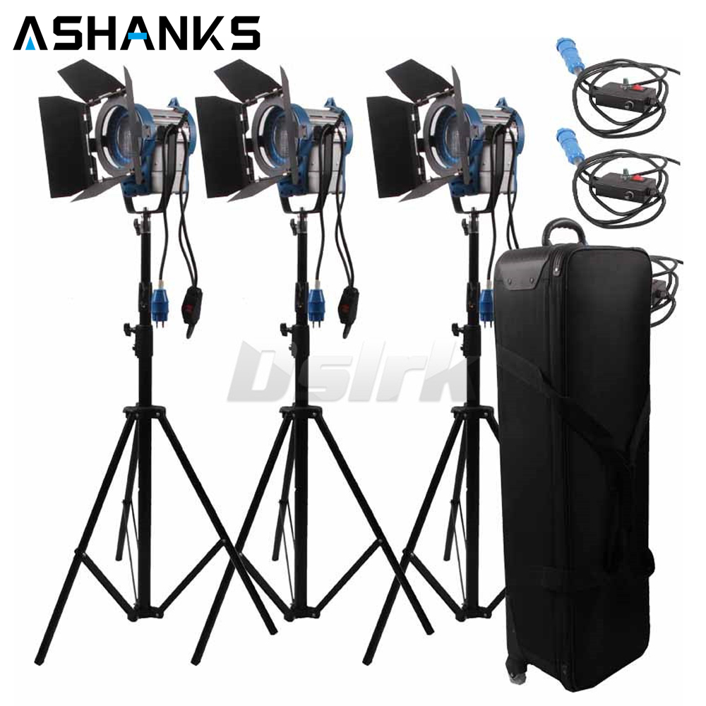 3 X 1000W Studio Fresnel Tungsten with dimmer control Spotlight Video Light Kit Lighting with Carry Case cheap dimmable 1200w hmi fresnel light daylight electronic ballast with case lighting film for movie light sdutio lighting