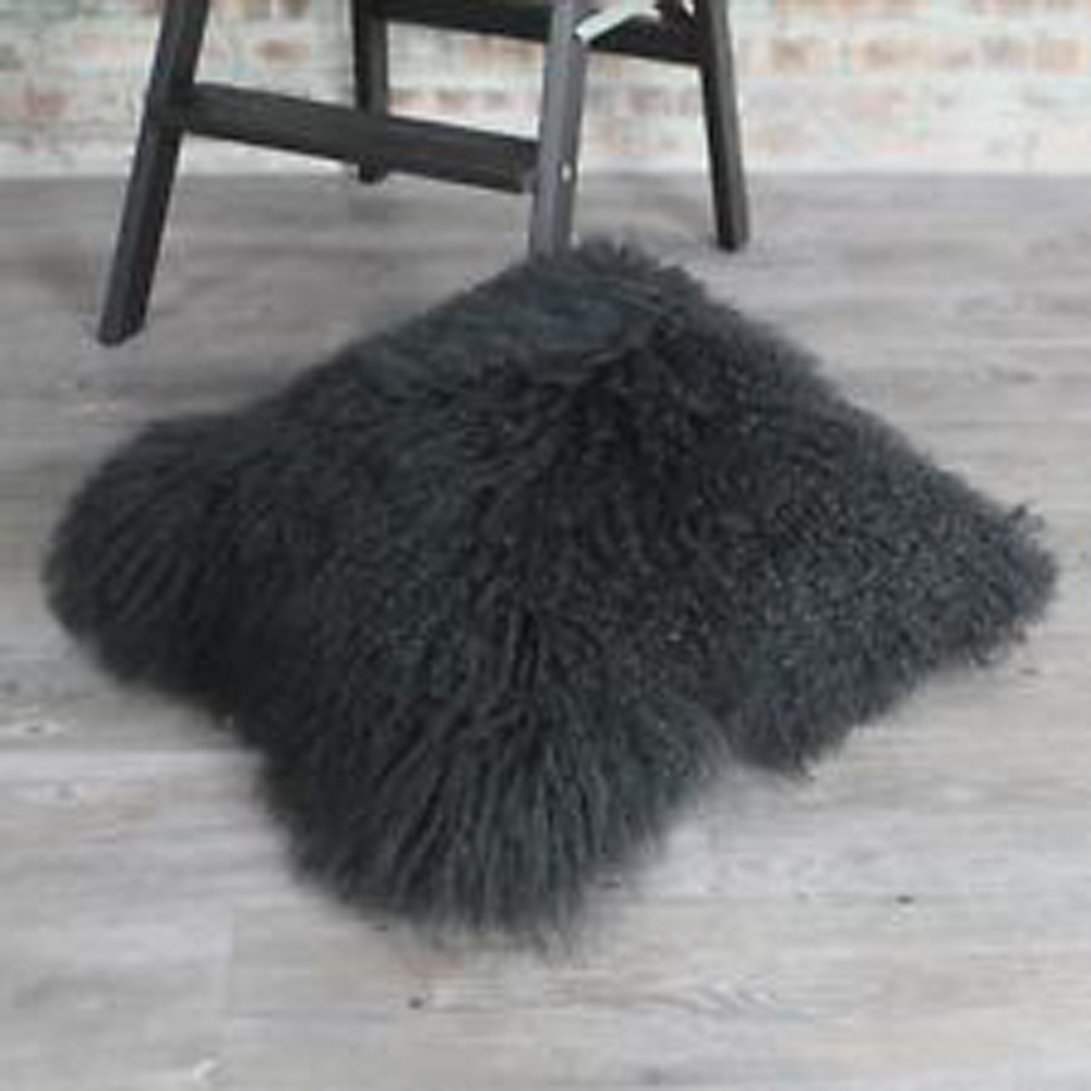 Mongolian Fur Chair Cover Swing Hook 2016 Double Sides Pillow Black Lamb Cushion Decorative Pillows ...