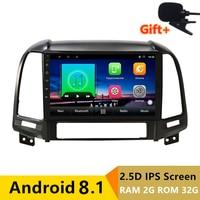9 2+32G 2.5D IPS Android 8.1 Car DVD Multimedia Player GPS for Hyundai Santa Fe 2006 07 08 09 2010 2013 audio radio navigation