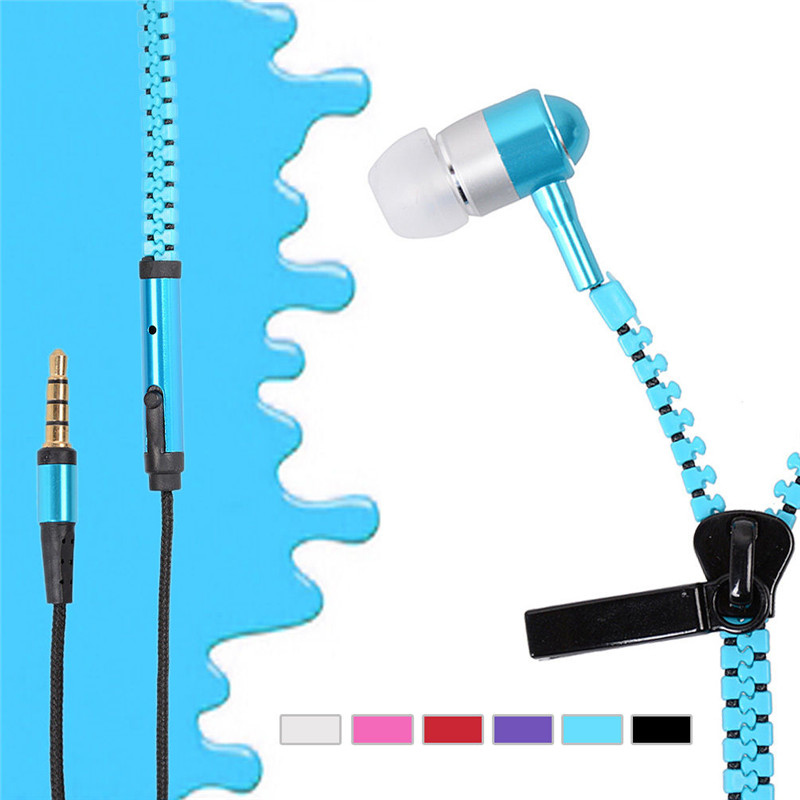6 Colors Zipper Style Headset 3.5mm Aux Audio Jack In Ear Headphones Ear Phones With Mic Handfree MP3 Earphone For Mobile Phone